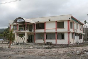 A damaged hotel on the south eastern coast of Upolu island