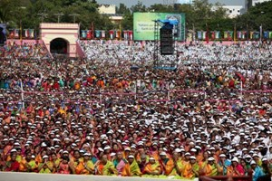 Thousands of devotees from all over India and the world attended