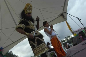 The story of Hiranyakashapu and Prahlad performed at the Hare Krsna Temple as part of the Holi festivle celebration