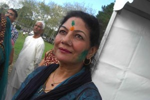 Roopa Suchdev at the ISKON temple Holi celebration