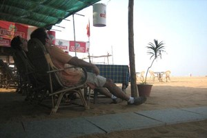 Breakfast at Baga beach one of Goa's most popular tourist beaches